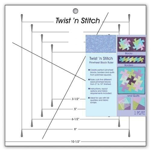 Ruler - Quilt Trim Ruler - Twist 'n Stitch Pinwheel Block Ruler