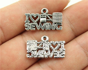 WYSIWYG 15pcs 20x12mm Sewing Charms I Love Sewing Charm I Heart Sewing Charm Vintage DIY Accessories For Jewelry Making