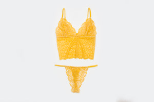 'Pineapple' Long Lace Bralet Set
