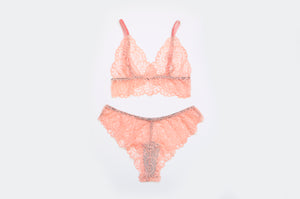 'Peach' Lace Set