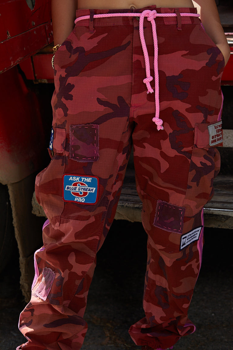 Hot Pink Vintage Camo Pants with Patches