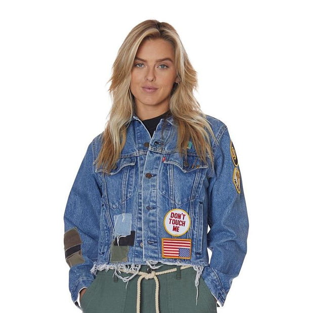 Steal This Patch Vintage Levis Trucker Denim Jacket with Custom Patches
