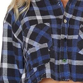 Cropped Self Patched Flannel in Navy