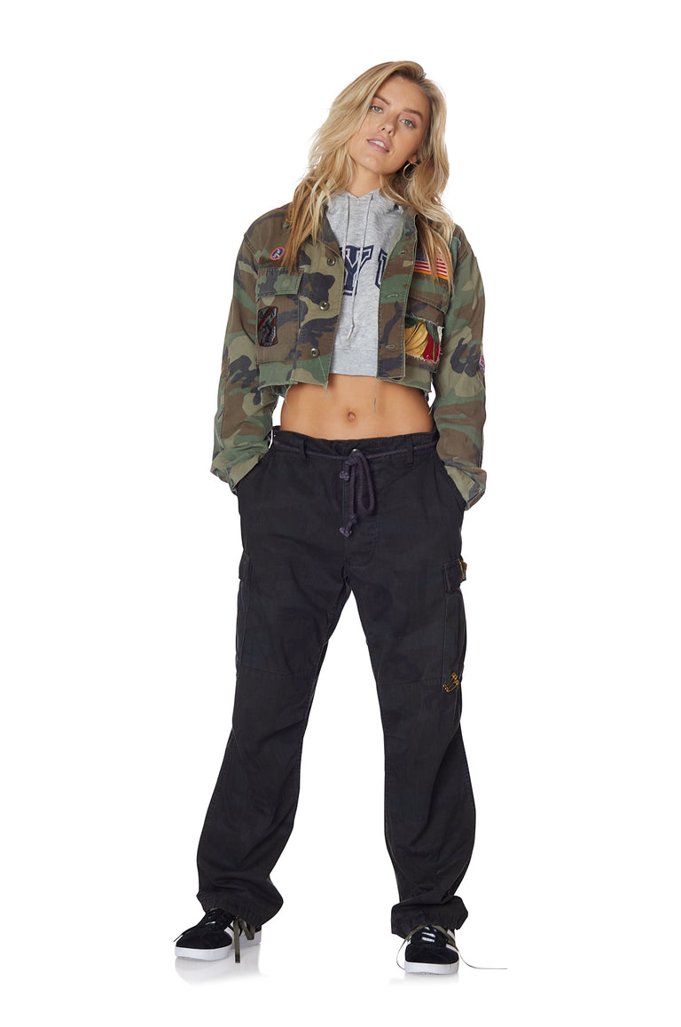 Camo and Heathered Floral Cropped Jacket with Patches and Pins