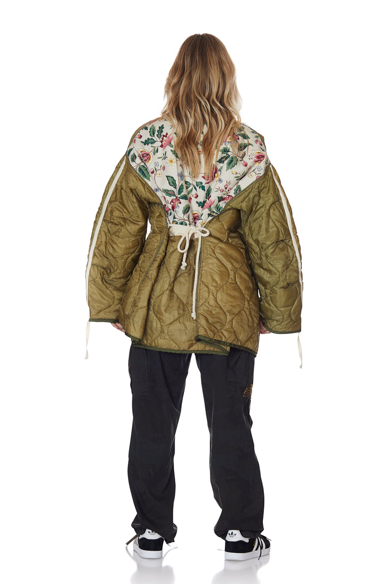 Cocoon Wrap Jacket with Floral Backing in Army