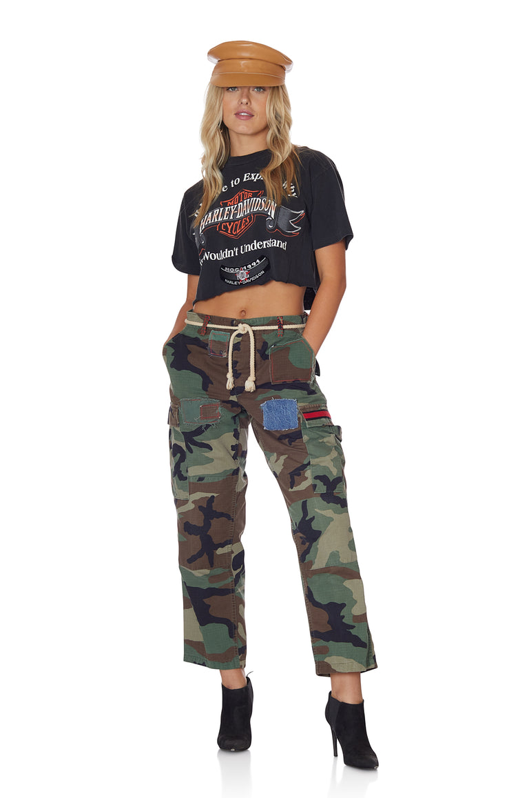 Raw Edge Cropped Harley Davidson Tee with Patches Understand