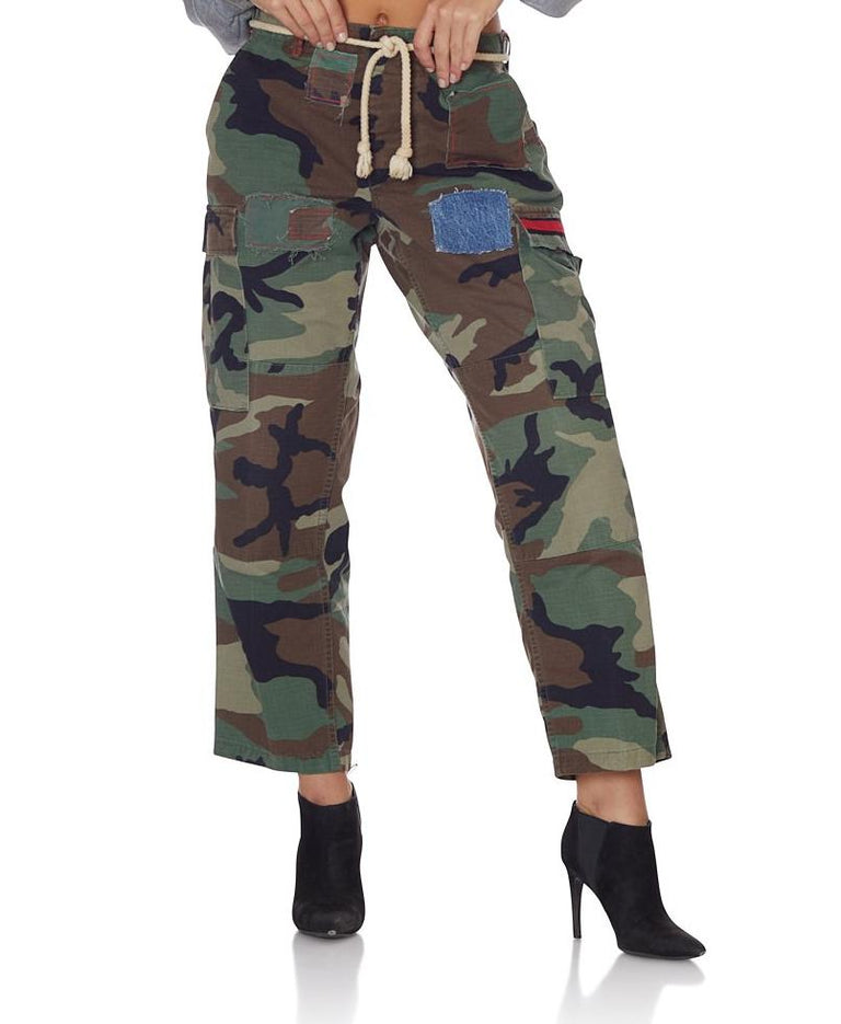 Vintage Camo Capri with Patches