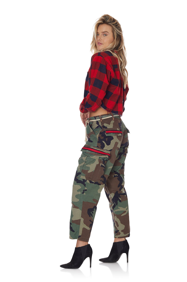 Cropped Self Patched Flannel in Red