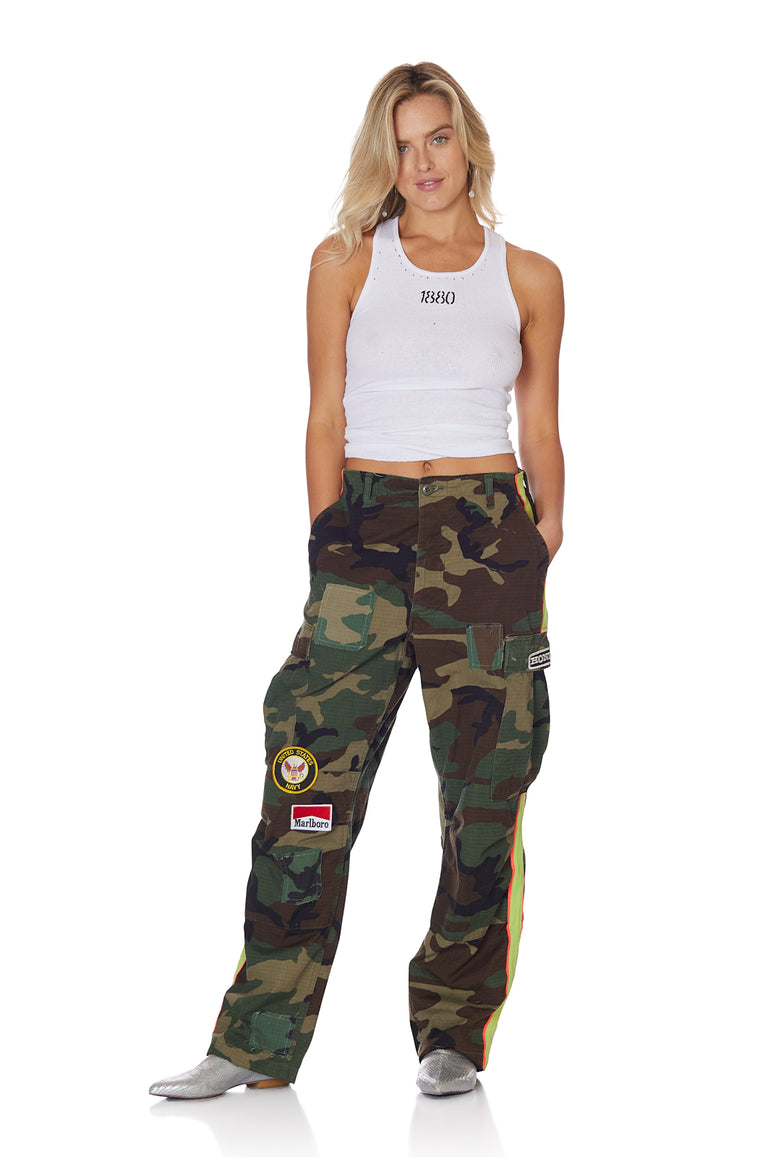 Neon Stripe Vintage Camo Pant with Patches