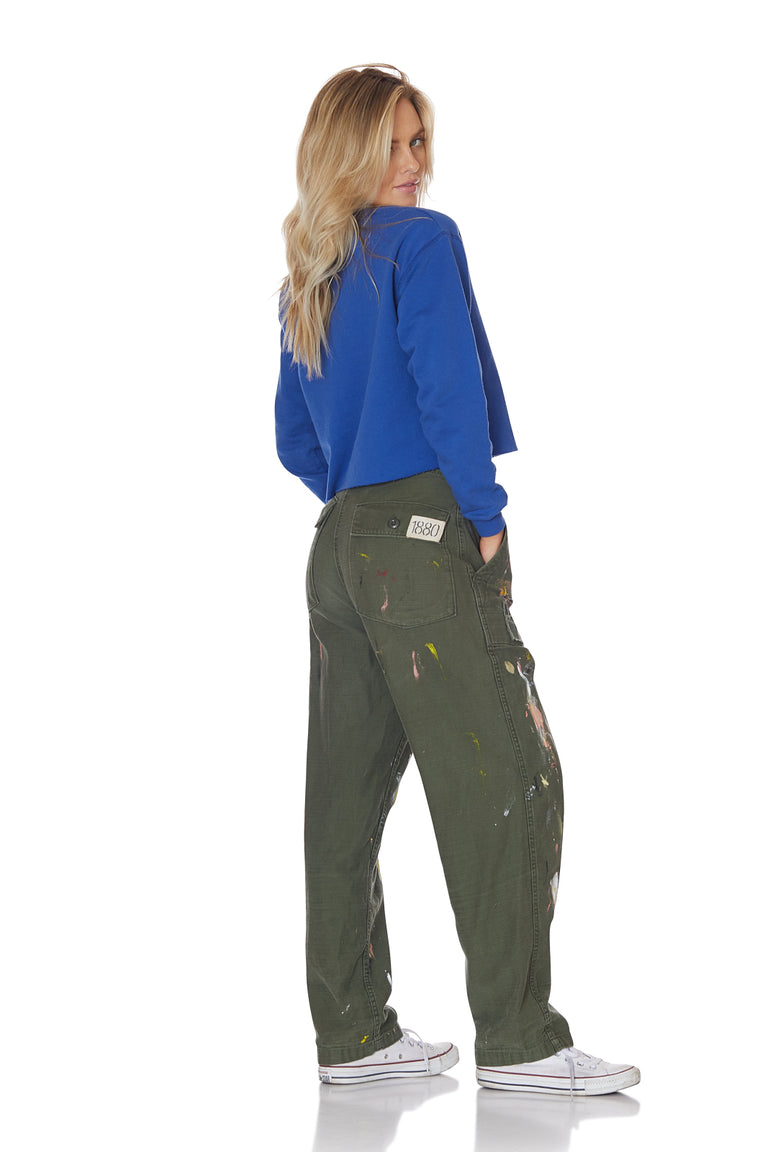 Cropped Royal Surfer Sweatshirt with Patches