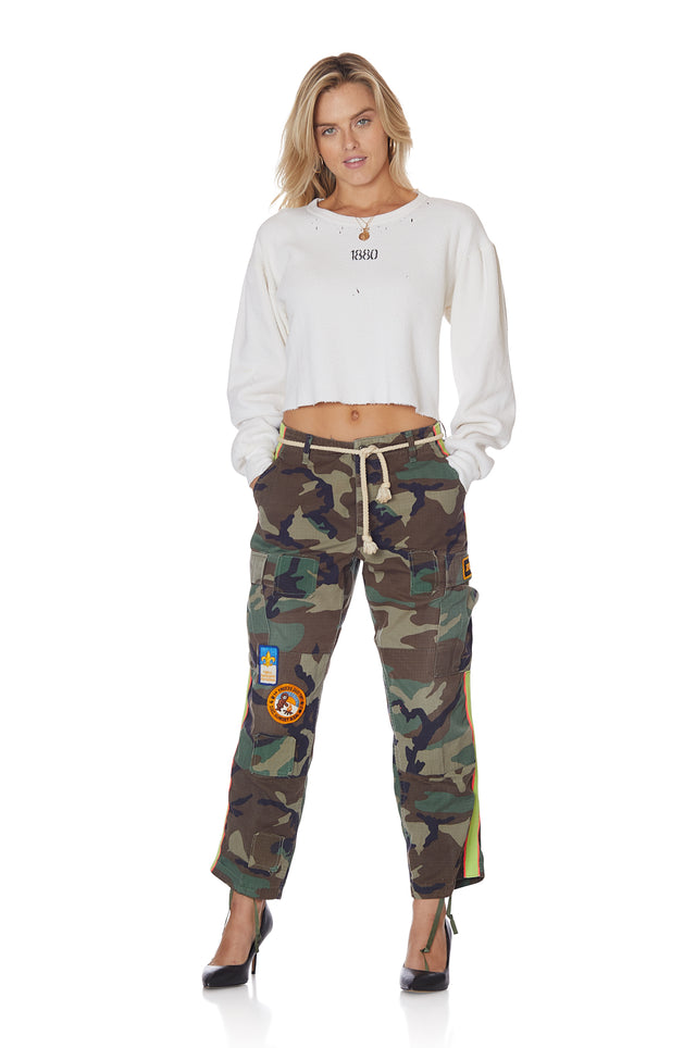 Crop Neon Stripe Vintage Camo Pant with Patches