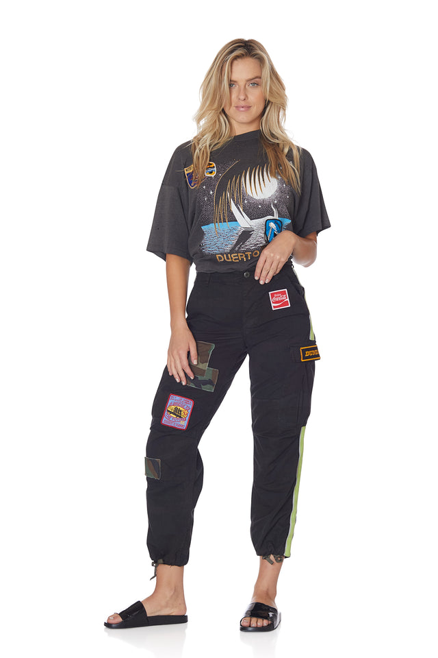 Neon Stripe Vintage Camo Pant with Patches in Black
