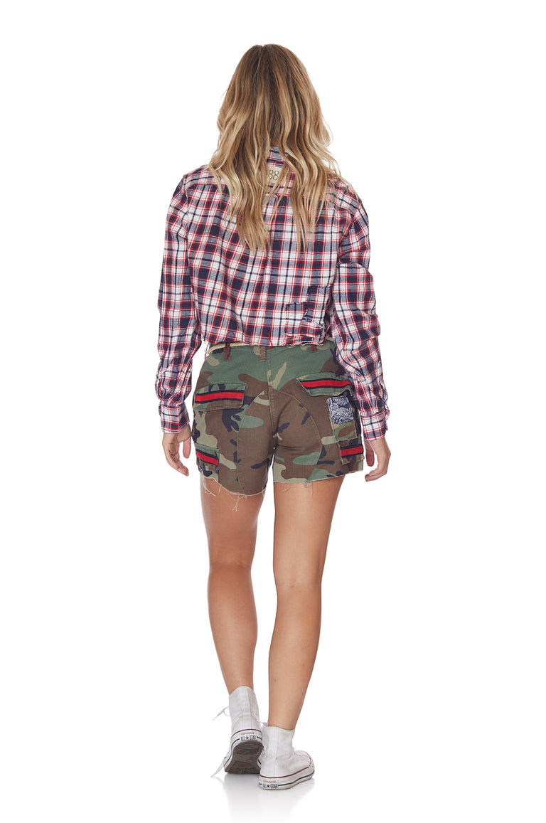 Raceway Vintage Camo Short with Patchwork