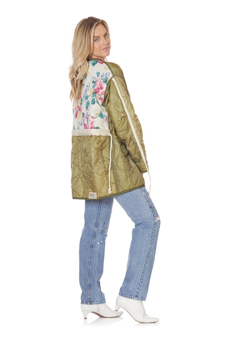 Cocoon Wrap Jacket with Floral Backing in Rustic Green