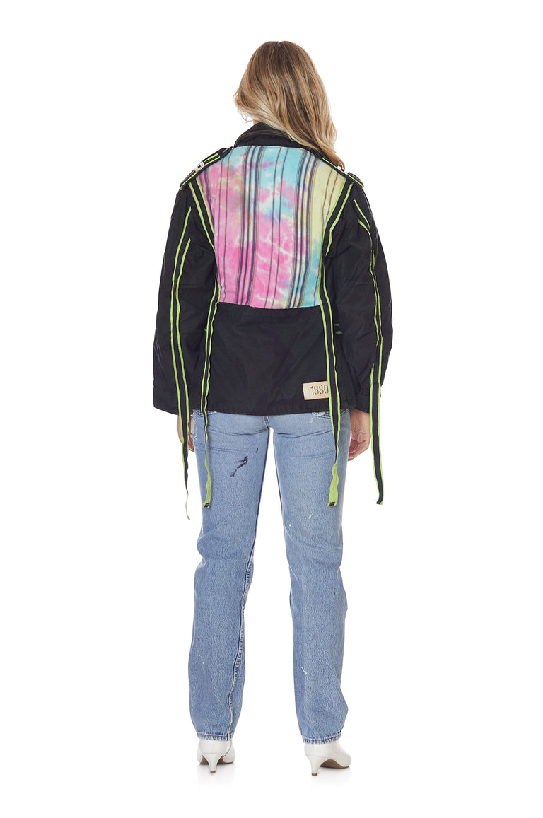 Overdyed Black Camo 'Tron' Jacket with Neon