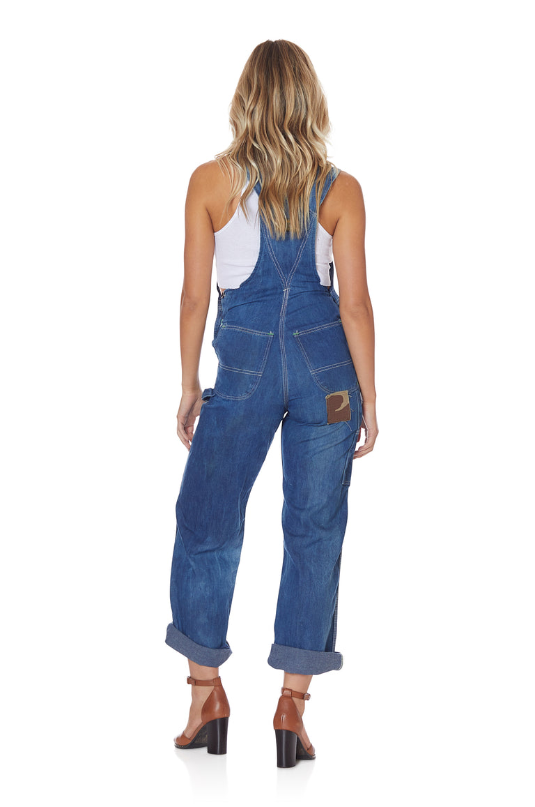Dark Wash Vintage Fitted Denim Overalls with Patches