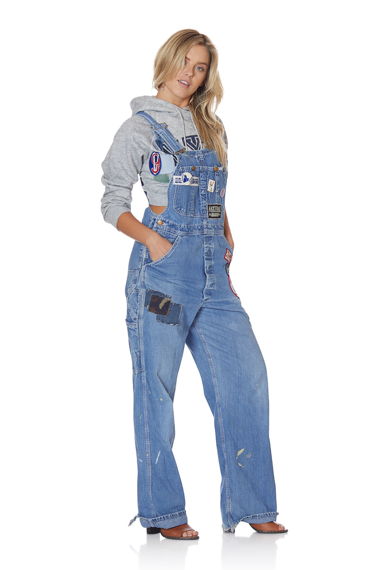 Vintage Loose Denim Overalls with Patches