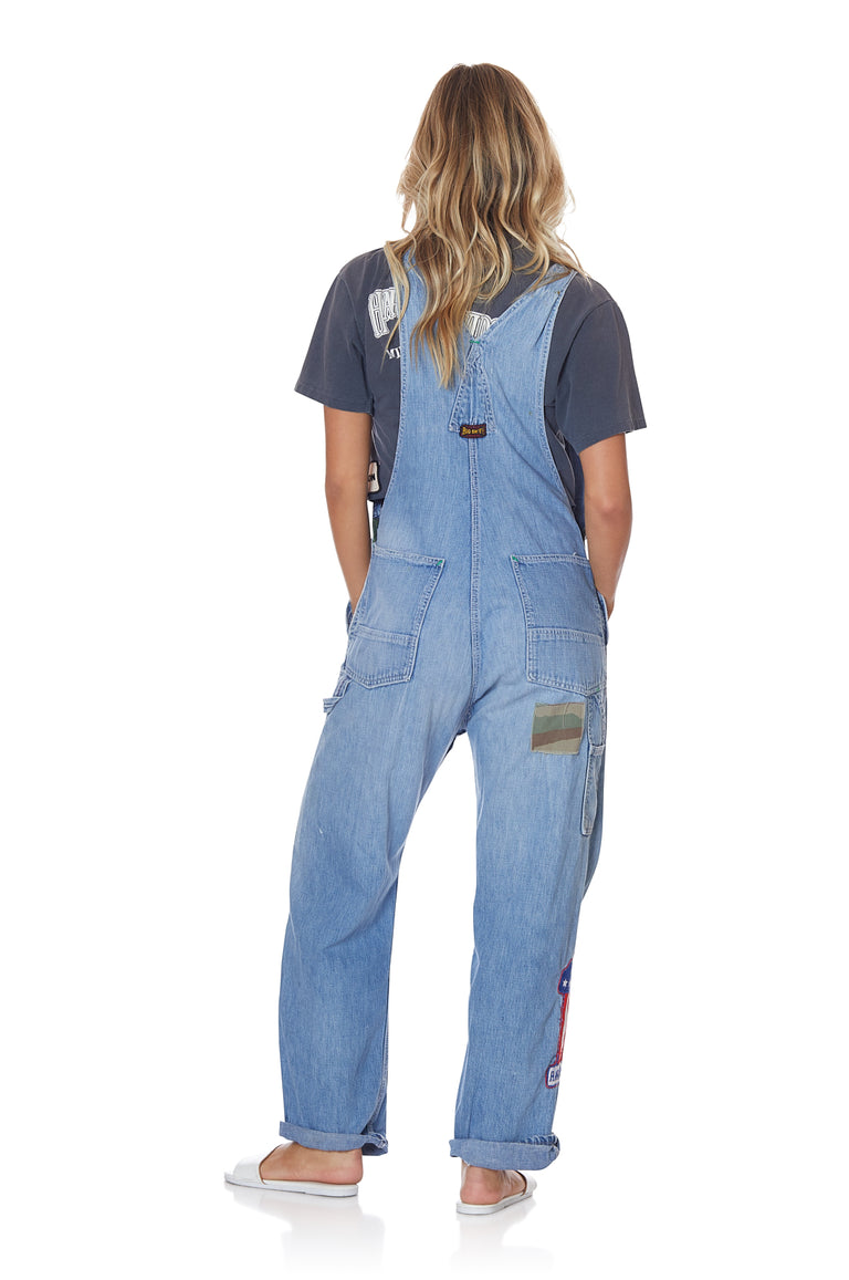 Light Wash Vintage Loose Denim Overalls with Patches