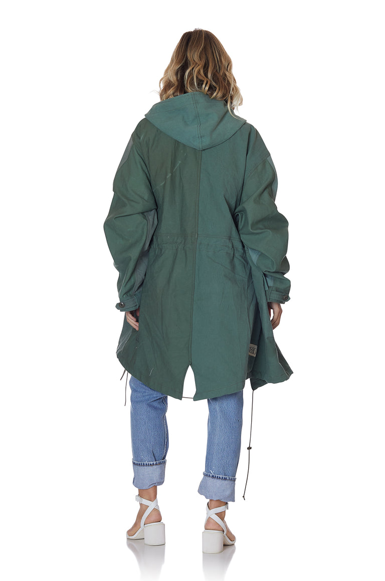 Reconstructed Military Fatigue Hooded Parka