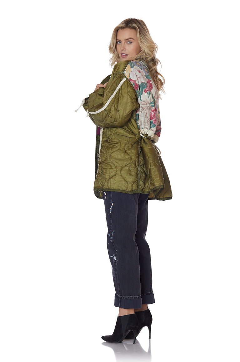 Cocoon Wrap Jacket with Floral Backing in Fern