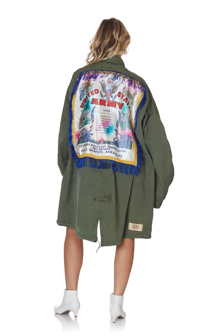 Oversized Parachute Jacket with Patches and Fringe