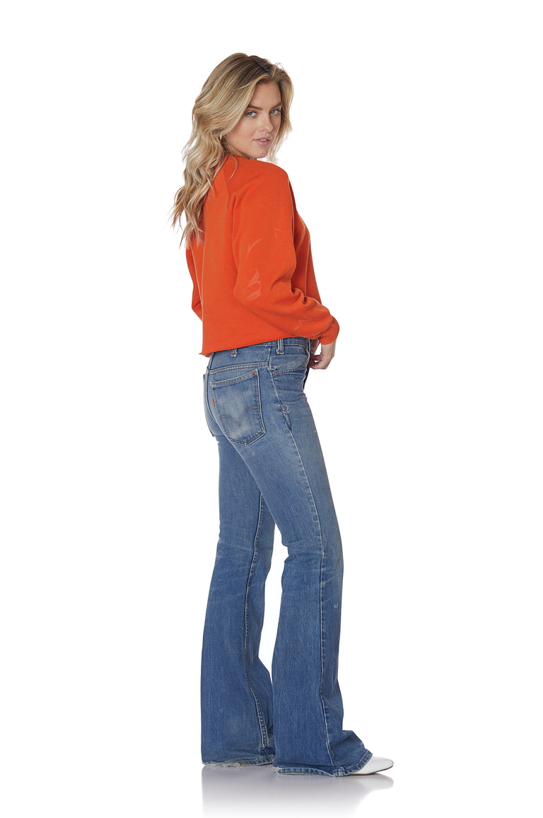 Cropped Orange Surfer Sweatshirt with Patches