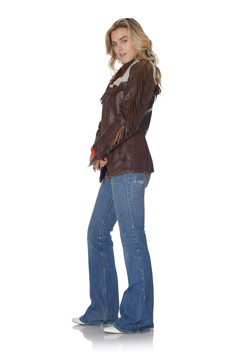 Hide and Leather Vintage Jacket with Fringe