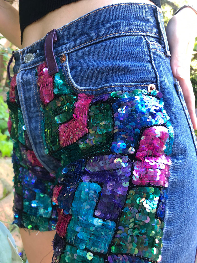 Billie Jean Sequin Shorts Multi Colored