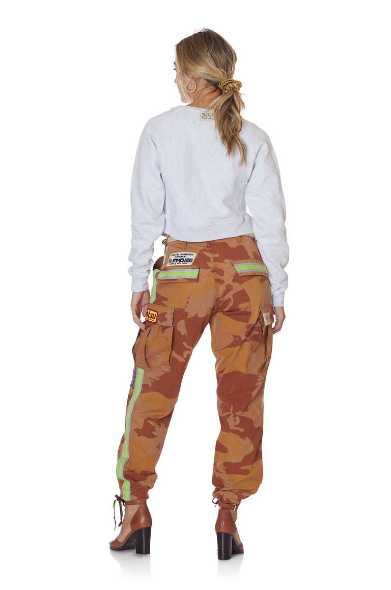 Neon Stripe Vintage Camo Pant with Patches in Orange