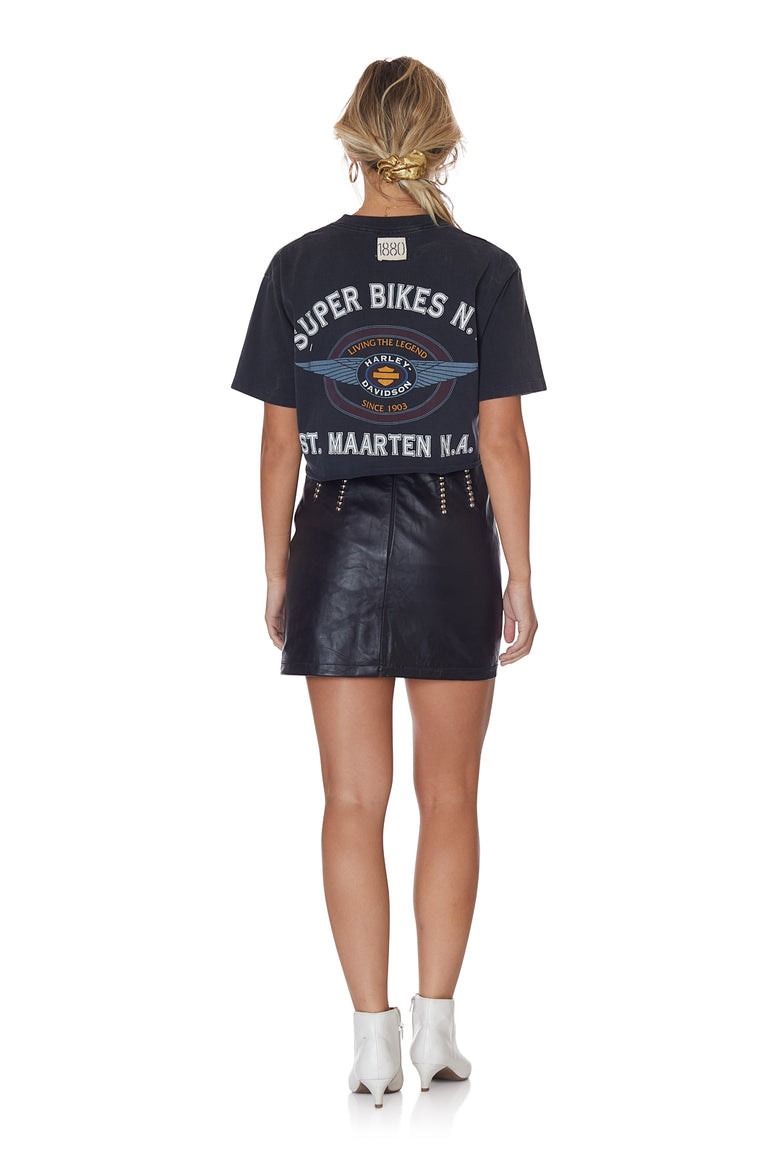 Raw Edge Cropped St. Marteen Harley Davidson Tee with Patches