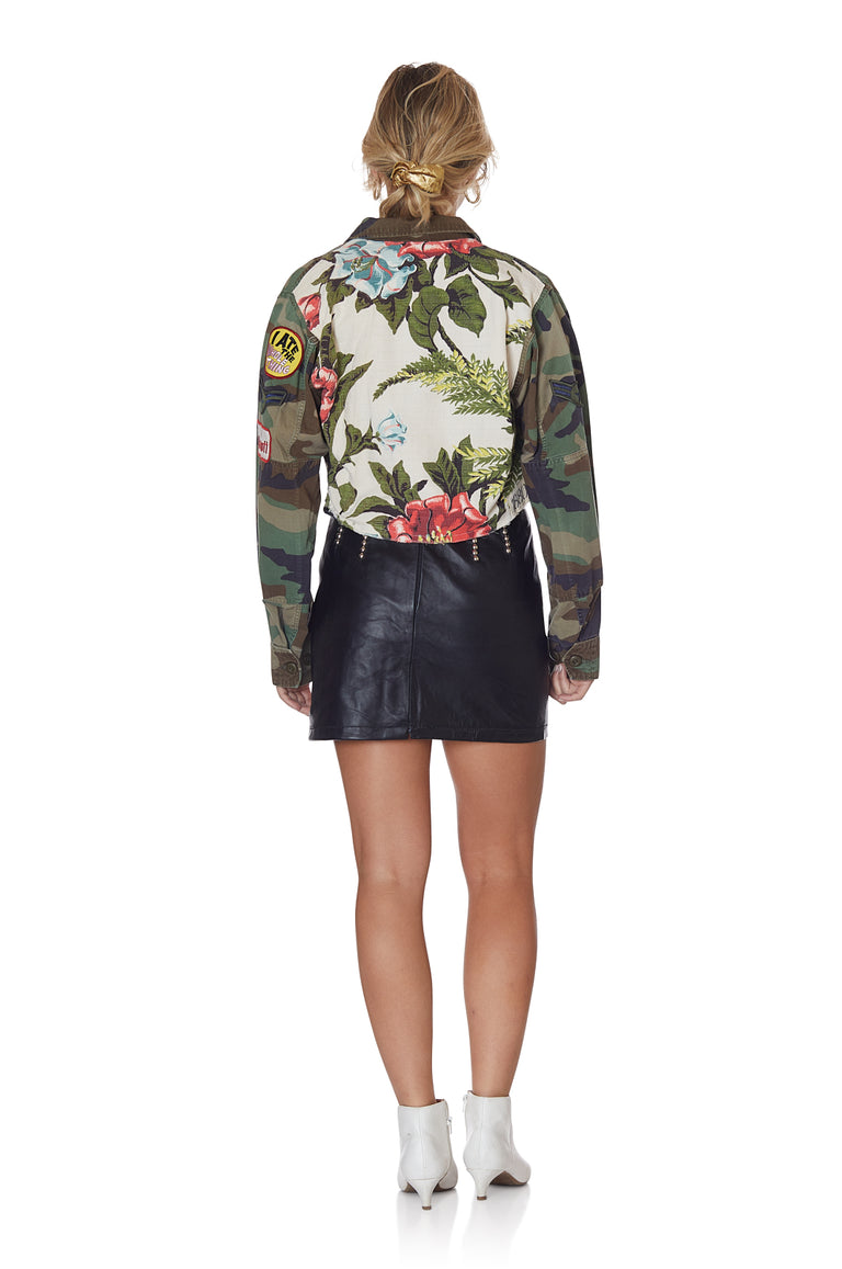 Camo and Neutral Floral Cropped Jacket with Patches and Pins