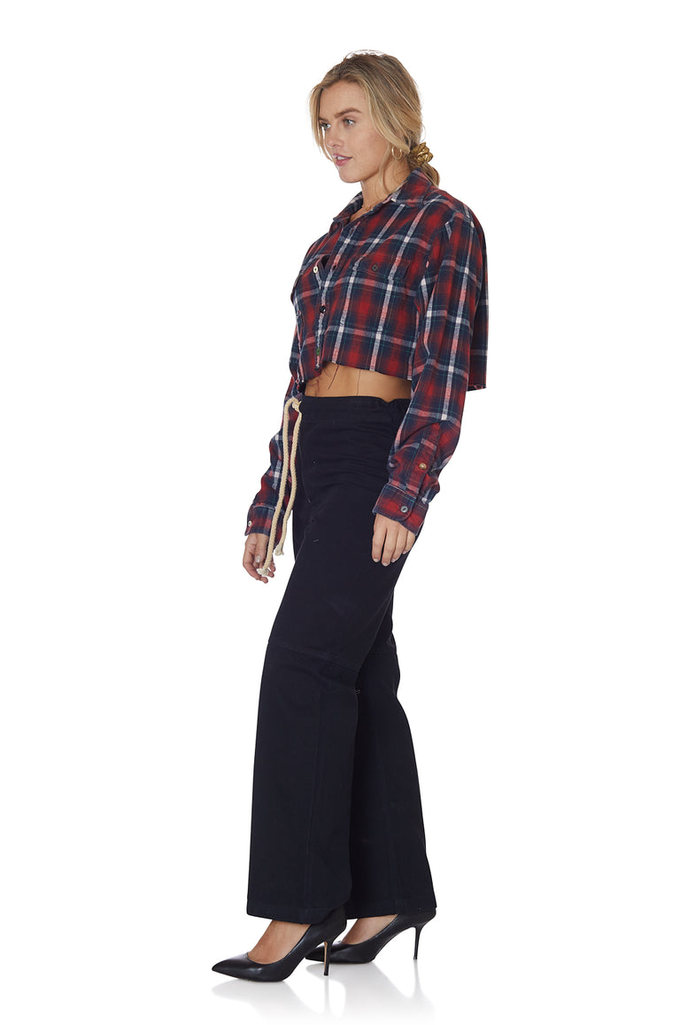 Cropped Self Patched Flannel in Brick