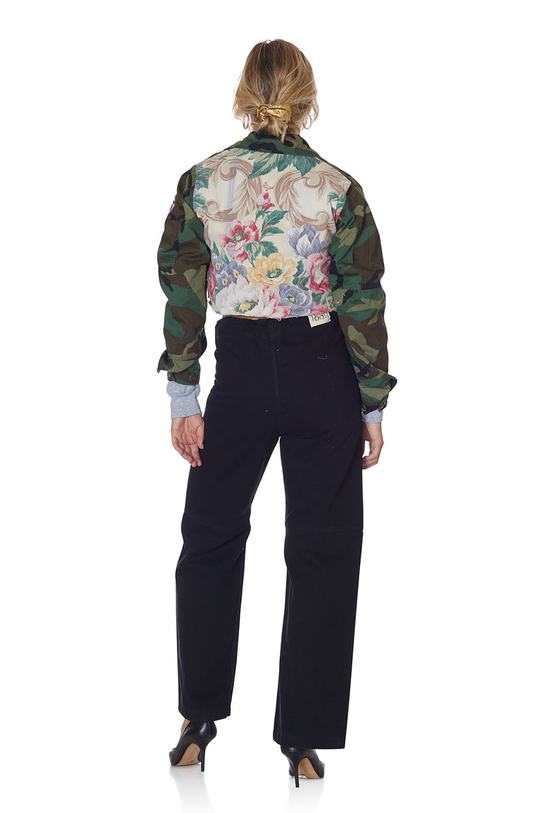 Camo and Pastel Floral Cropped Jacket with Patches and Pins