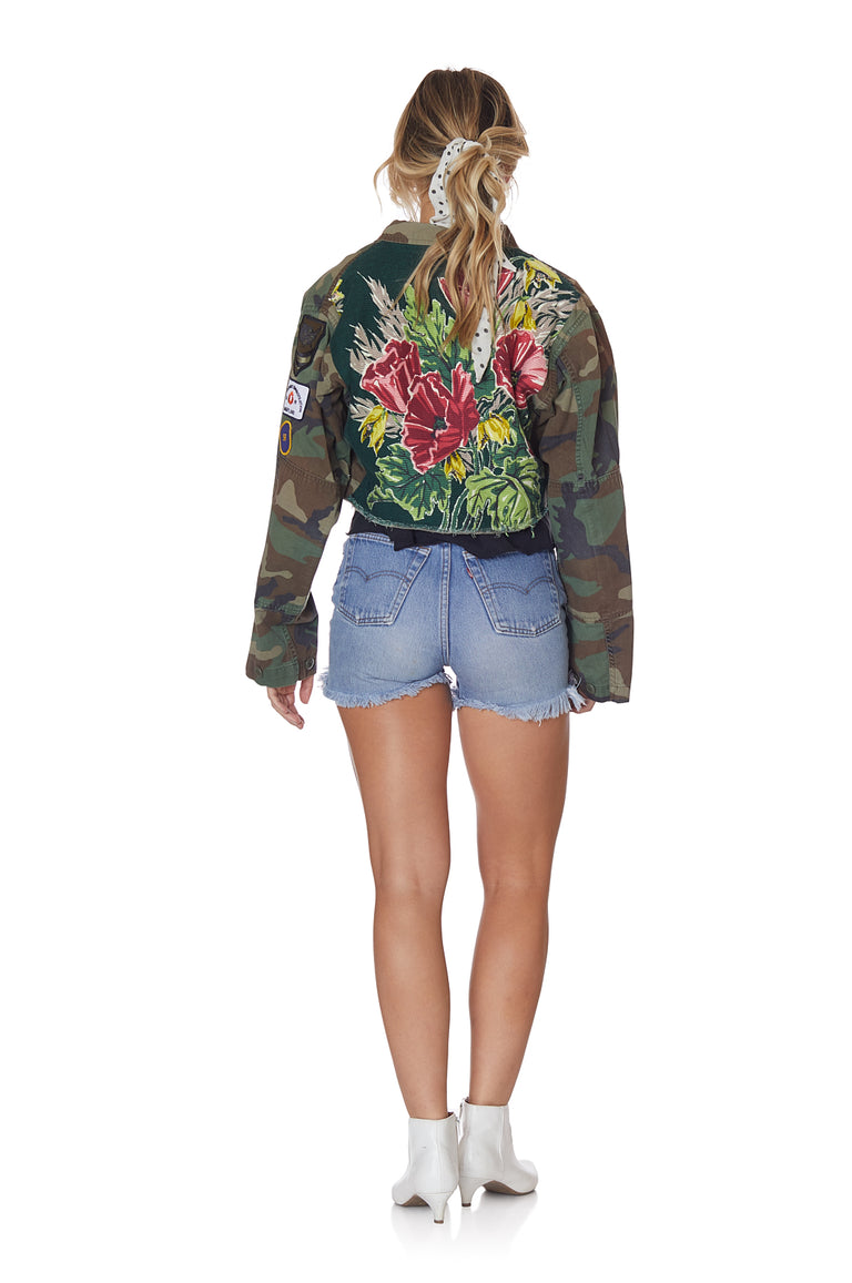 Camo and Vibrant Floral Cropped Jacket with Patches and Pins