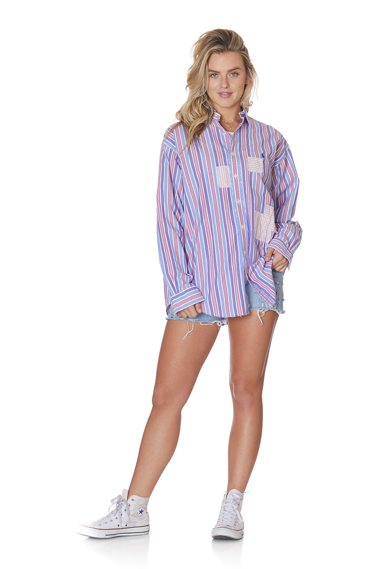 Daddy's Dress-Shirt with Assorted Patches in Candy Stripe