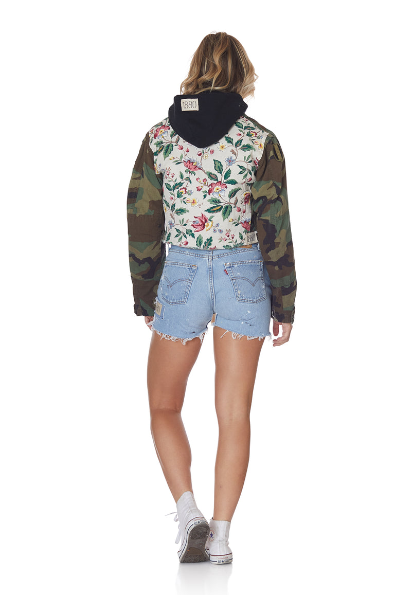 Camo and Multi Floral Cropped Jacket with Patches and Pins