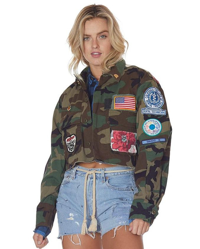 Camo and Americana Floral Cropped Jacket with Patches and Pins