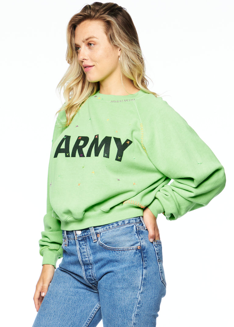 Army Neon Cropped Crewneck