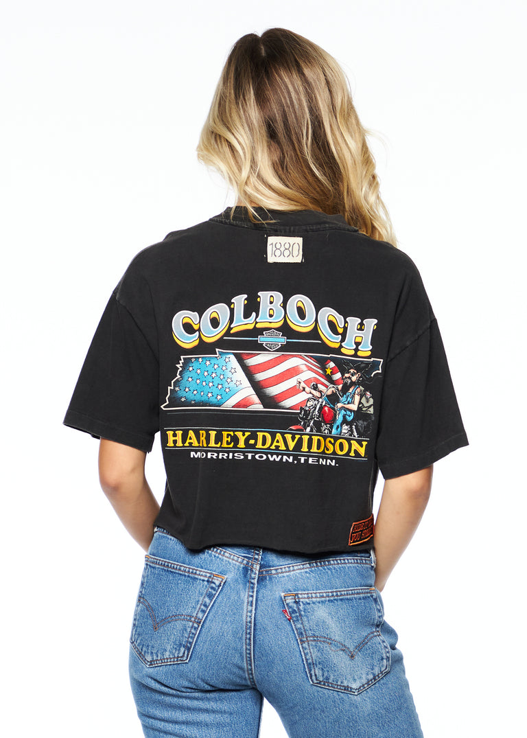 "Vintage Cropped Harley Davidson Tee W/ Patches ""Colboch"""