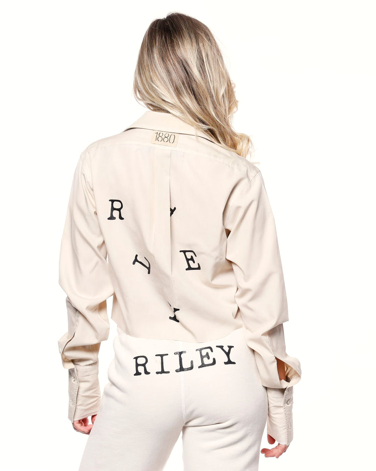 """RILEY"" Ivory Cropped Dress Shirt"