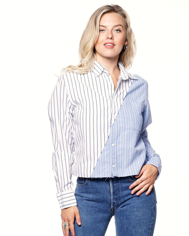 Split Striped Dress Shirt