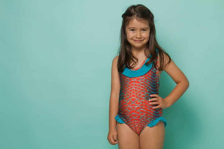 Catraca Swimsuit- Orange Pattern