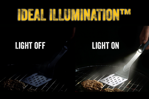 graphic showing an unlit grill and a grill being illuminated by a grillight grilling tool