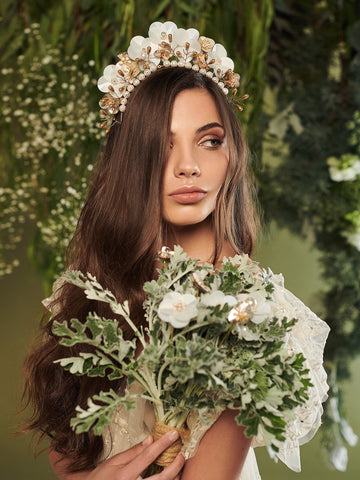 An Ode To Daisies 1 Wedding Headpiece With Pearls Paper And Brass
