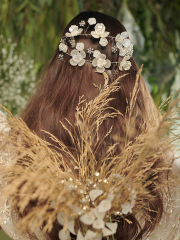 An Ode To Daisies 6 Wedding Silver Headpiece With Pearls Swarovski Enamel And Brass