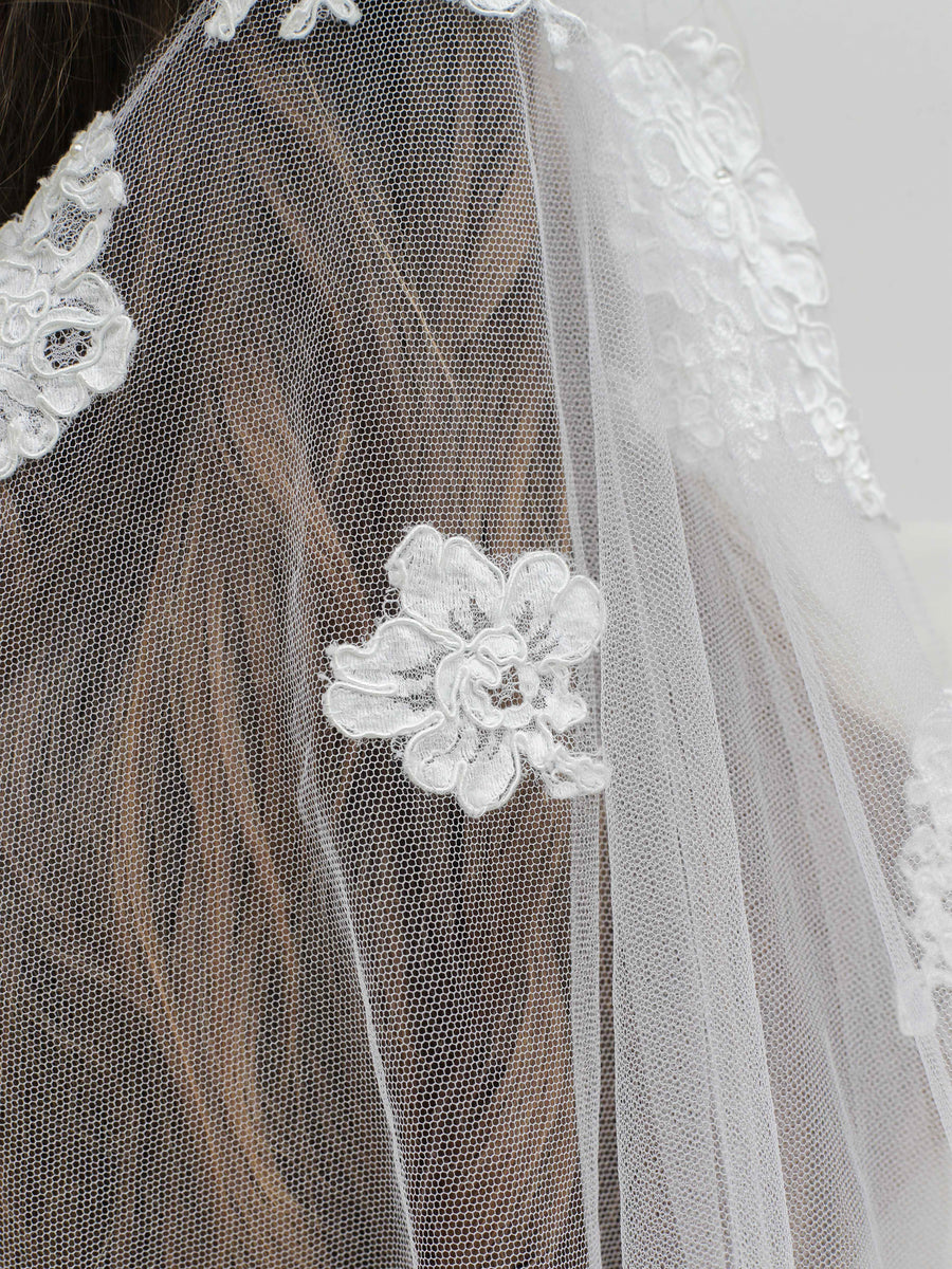 aura headpieces bridal veil white flower lace details bride wedding