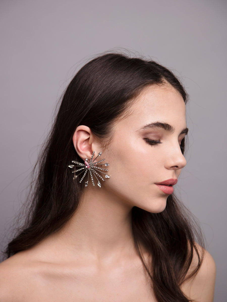Aurea Rays 9 Wedding Silver Ear cuff With Swarovski And Brass