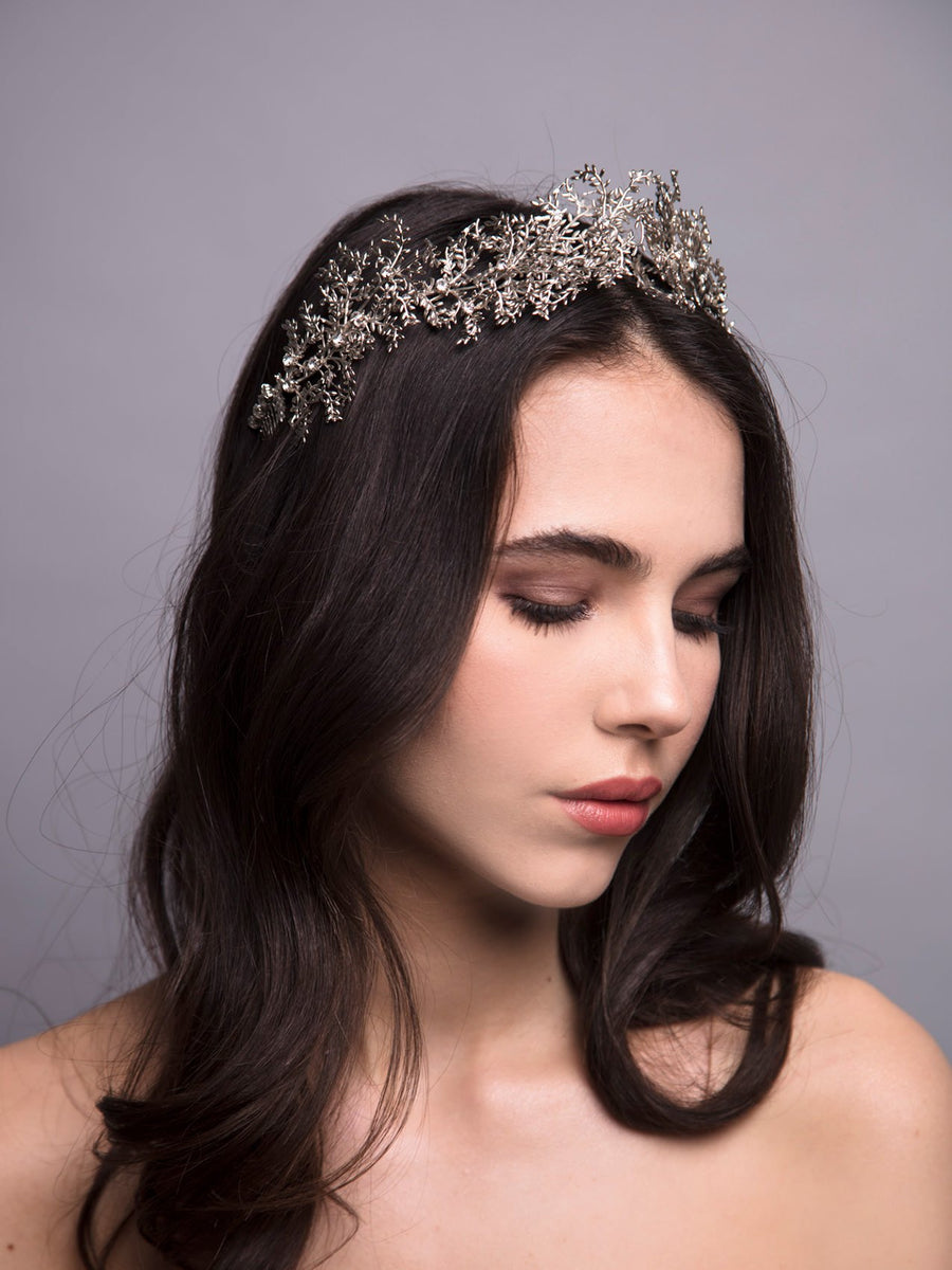 Gypsofilia 4 Wedding Silver Headpiece With Swarovski And Brass