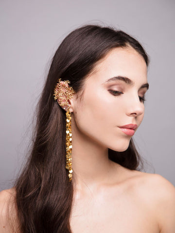 Gypsofilia 5 Wedding Gold Ear cuff With Brass