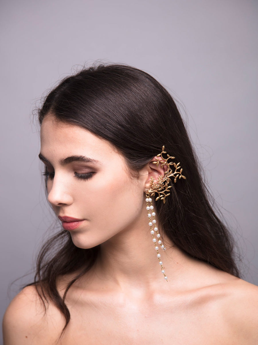 Gypsofilia 6 Wedding Bronze Ear cuff With Pearls And Brass